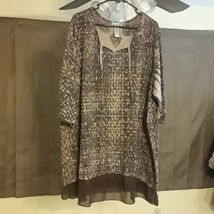 Catherine's Brown Tunic Blouse 3X(26/28)